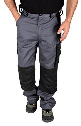 Iwea Stabile Arbeitshose Bundhose Berufshose Handwerker Cargohose Arbeitskleidung Grau IW063, 56 XL, Grau/Schwarz Premium