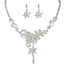 Silver-Tone Austrian Crystal Floral Vine Leaf Necklace Earrings Set