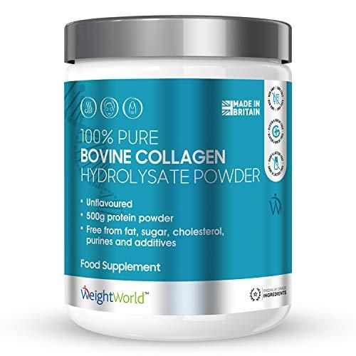 Kollagen Pulver 500g - Eiweiß-Pulver aus Weidehaltung laborgeprüft - Reine Collagen Hydrolysat Peptide ohne Zusatzstoffe - Geschmacksneutral - Premium Qualität von WeightWorld