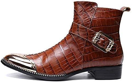 LOVDRAM Chaussures en Cuir pour Hommes Mode en Cuir Véritable Monk Bretelles Hommes Cheville Bottes Chaussures Habillées Formelles Chaussures à Bout Pointu Bottes De Cowboy