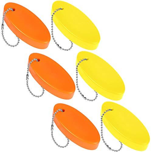 Llavero Flotante de Espuma Flotador de Llavero Oval para Barco, Pesca, Navegación y Deportes al Aire Libre (6 Piezas)