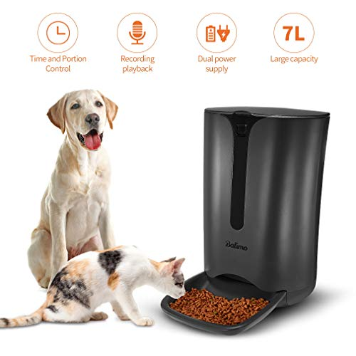 Balimo Automatic Smart Pet Feeder for Cat and Dog, Food Dispenser with Distribution Alarms, Portion Control, Voice Recorder, Programmable Timer for up to 4 Meals per Day, 7L
