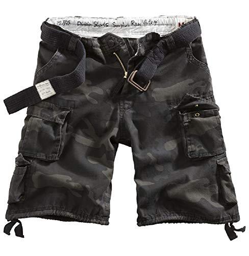 Surplus Raw Vintage Division Shorts gewaschen, Black camo, XL