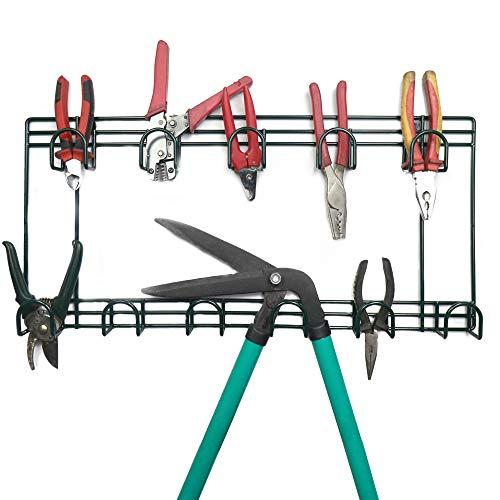 Organizador de herramientas de jardín | Cobertizo y almacenamiento en la pared del garaje | Estante colgante de 2 niveles | Accesorios de jardín Percha de metal | Fortificaciones incluidas | M&W