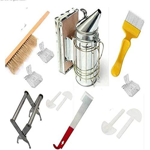 YOHIKOKIU Juego de 12 piezas de acero inoxidable, material de poliuretano, resistente al ácido y álcali, herramientas de apicultura, cepillo de abeja, horno para ahumar, accesorios de apicultura