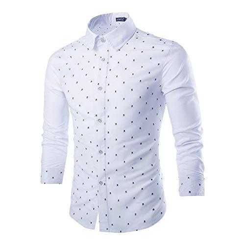 Beastle Men's Casual Dress Shirt Button Shirts Long-Sleeve Work Shirt Personalized Print Long-Sleeved Shirt All-Match Shirt Medium White