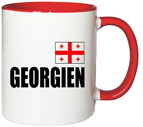 Mister Merchandise Kaffeetasse Georgien Fahne Flag Teetasse Becher, Farbe: Weiß-Rot