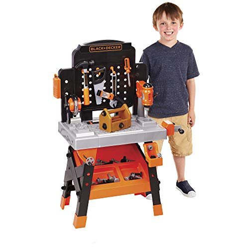 BLACK+DECKER Power Tool Workshop - Play Toy Workbench for Kids with Drill, Miter Saw and Working Flashlight - Build Your Own Tool Box – 75 Realistic Toy Tools and Accessories