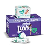 Diapers Size 6, 124 Count and Baby Wipes - Luvs Ultra Leakguards Disposable Baby Diapers, ONE Month Supply with Pampers Sensitive Water Based Baby Diaper Wipes, 6X Pop-Top Pack, 336 Total Wipes
