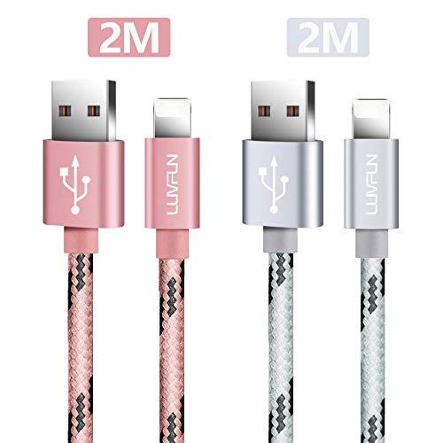 Luvfun [2-Pack] Kabel für iPhone, 2M Nylon USB Kabel Phone Ladekabel Datenkabel für iPhone Gerät (Roségold+Silber)