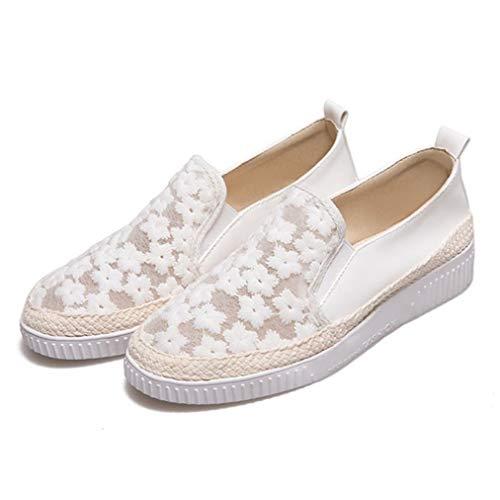 Femmes Mocassins Printemps Automne Slip on Solid Couleur Dentelle Maille Fleur Femelle Épaisse Bas Sneaker Grande Taille 43 Dames Casual Chaussures Plates