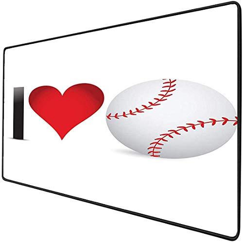 Mouse Pad Gaming Funktionale Sportliebhaber Sammlung Ich liebe Baseball Dick Wasserdichte Desktop-Maus Matte Herz mit Baseballball Leidenschaft Valentine Leisure Joy Rutschfeste Gummibasis