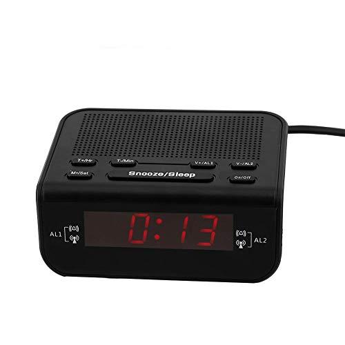 Garsent Reloj Despertador Digital, Pantalla LED Dual Reloj Despertador con Radio Am/FM Función de Despertador y Temporizador de Apagado Radio Despertador FM portátil para Viajes.