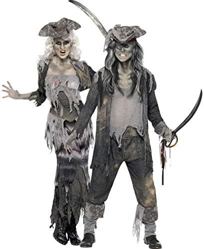 Generique - Costume di Coppia di Pirati Fantasma Spaventosi per Halloween Taglia UnicaCostume di Coppia di Pirati Fantasma Spaventosi per Halloween Taglia Unica
