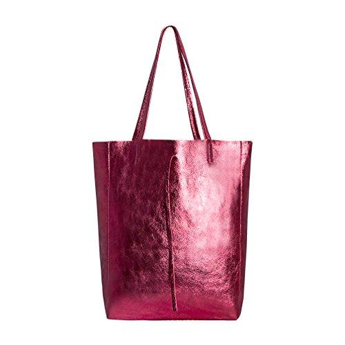 SKUTARI® LEDER Vittoria Brillante - Damen Shopper aus echtem Leder, glänzende Handtasche mit eingenähter Innentasche, handgefertigt MADE IN ITALY, Fashion Tragetasche, Beuteltasche, 37 x 38 x 14 cm