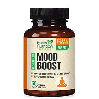Mood Boost Support for Stress 1100mg - Positive Mood and Focus Support Supplement, Made in USA, Natural Serotonin & Dopamine Nootropic Pills with 5-HTP, Ashwagandha & GABA - 60 Capsules