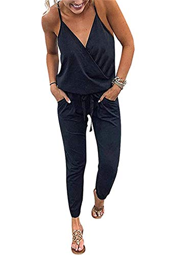 PRETTYGARDEN Women's Sexy Deep V Neck Spaghetti Strap Drawstring Waist Jumpsuit Romper with Pockets