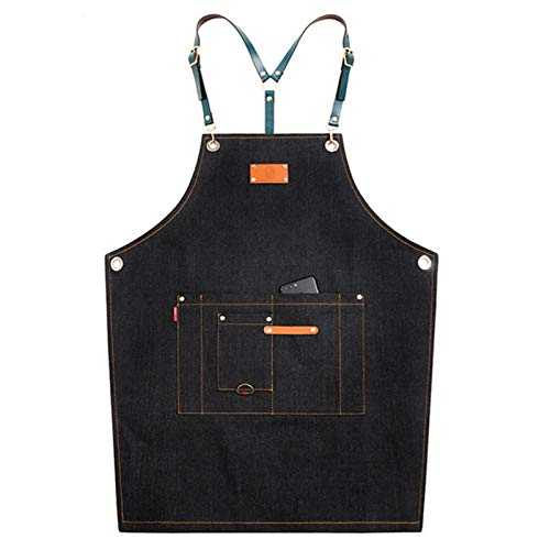 Ajustable Delantal de Trabajo Mandil de 100% Algodón Unisex con Diseño de Espalda Correas Cruzadas de Moda para Cafetería Tienda de Postres Restaurante (Color : Black)