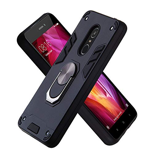 FAWUMAN Funda para Xiaomi Redmi Note4 Soft TPU + Duro PC Doble Parachoques Cubierta a Anillo Soporte con Soporte y Carcasa Desmontable, Funda Protectora Serie Armadura (Negro)