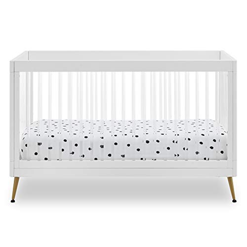 Delta Children Sloane 4-in-1 Acrylic Convertible Crib - Includes Conversion Rails, Bianca White w/Melted Bronze