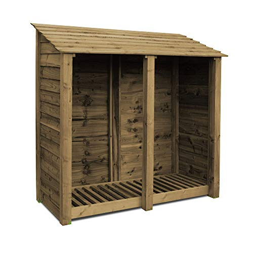 Rutland County Garden Furniture Normanton 6ft Tall Log Store/Garden Storage Heavy Duty Pressure Treated Timber With Forward Sloping Roof (Solid Log Store With Kindling Shelf, Rustic Brown)