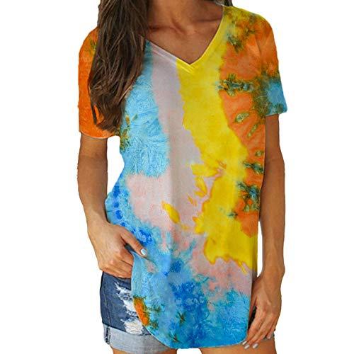 Damen T-Shirt Mit V-Ausschnitt Sommer Print Tie-Dye Kurzarm Mode Loose Top