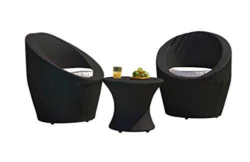 DCB GARDEN TOTEM-3-FIDJI Salon Bas 2 Place en résine tressée Noir, 70x70x80  cm