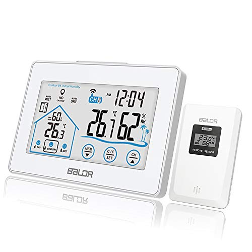 Vivibel Wetterstation Funk mit Außensensor, Digitales Hygrometer Thermometer Innen Außen, Wetterstationen Innen und Außentemperatur Funk mit Wettervorhersage, Uhrzeitanzeige, Lüftungsempfehlung(weiß)