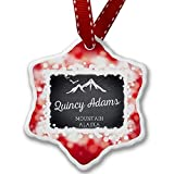 VinMea Christmas Ornament Mountains Chalkboard Quincy Adams Mountain - Alaska, red - Xmas Snowflake Ornament Porcelain Ornaments