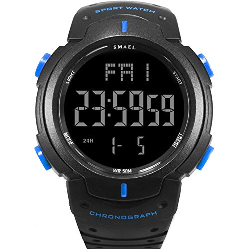 AYDQC Los Hombres del Reloj electrónico Digital de los Deportes del Reloj Impermeable al Aire Libre de múltiples Funciones del Reloj fengong (Color : Black Blue)