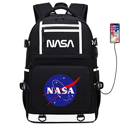 Zaino per Ragazzi E Ragazze della NASA per Scuola O Viaggio Borsa da Scuola Ergonomica Leggera con Motivo Astronauta con Porta di Ricarica USB E Spallacci Allargati,E