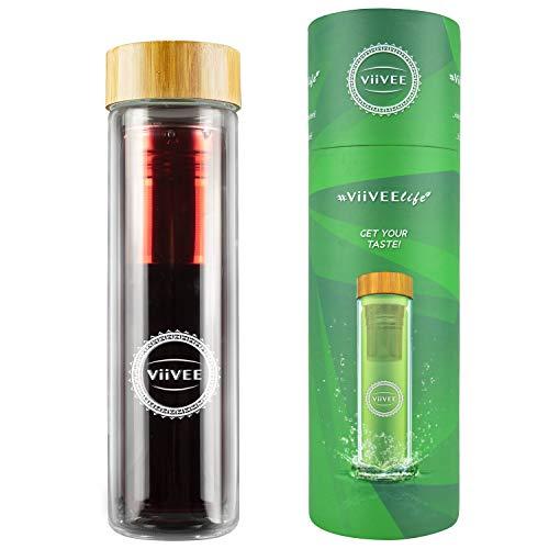 Viivee Life ® Teeflasche mit Sieb To Go (500ml) Thermoflasche für heiße & kalte Getränke Glas Trinkflasche 100% BPA Free Teekanne Doppelwandig für Tee | Detox | Smoothie | Infused Fruit Water