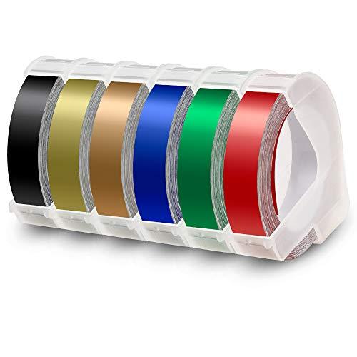 6x Labelwell 9mm x 3m Reemplazo de Etiqueta Compatible para Dymo 3D Cinta de Estampación Autoadhesiva para Dymo Organizer Xpress Junior Omega, Motex E-101, Negro/Dorado/Oro Champagne/Rojo/Verde/Azul