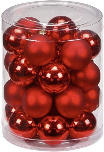Dreamsbox 24 Pezzi Palline di Natale Rosse, Palline per Albero di Natale, Decorazioni Natalizie
