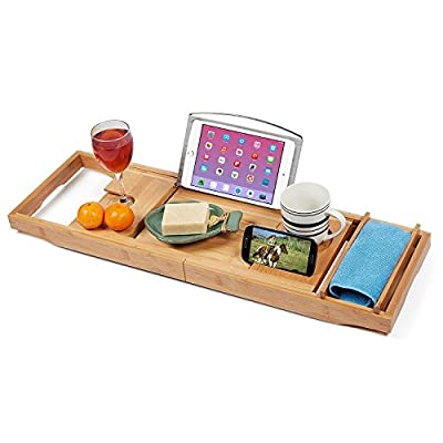 Bamboo Bathtub Caddy Tray with 12-in-1 Features, Non-Slip Grip, Free Soap Dish| Wine Glass Holder, Book Reading Rack| Wooden Shelf, iPad Stand| Spa Bath tub Tray