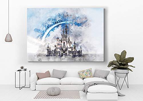 Meteor Gallery Disney Wall Art, Cinderella Castle Disney Prints, Living Kids Home Room Decor Art, Disneyland Poster, watercolor print, Blue and Soft Canvas 1 Panel : 24x36 inches (60x90cm)
