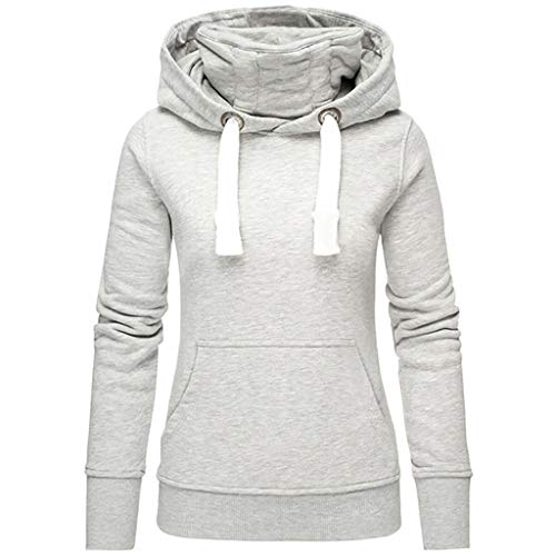Damen Kapuzenpullover Lang Hoodie, Sweatshirt Frauen Stehkragen Pullover mit Kapuze Herbst Winter Mantel Slim Fit Hoody High Neck Outwear Übergroß Sweatshirts Langarmshirt Mantel