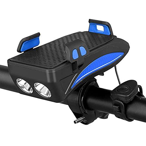 GOURIXIN Luz Bicicleta Recargable USB, 2000mAh Linterna Bicicleta con Soporte para Teléfono, Campana y Luz Trasera Bicicleta, Luz LED Bicicleta para Ciclismo de Montaña y Carretera Blue 4000mAh