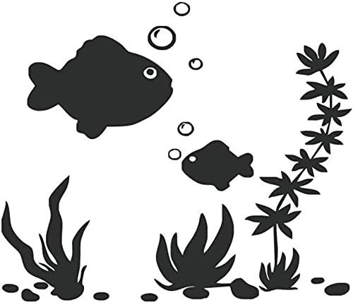 Etiqueta engomada de la pared de la espuma de la planta marina de los pescados etiqueta engomada del arte del baño impermeable autoadhesiva Diy Animal marino Mural 29X40Cm