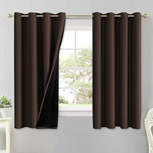 100% Blackout Curtains for Bedroom 63 Inches Long Thermal Insulated Lined Curtains for Living Room Double Layer Full Light Blocking Energy Saving Grommet Drapes Draperies, 2 Panels, Brown