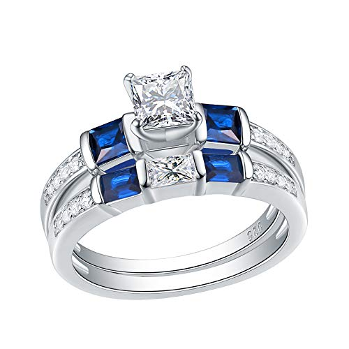 Wuziwen Engagement Wedding Rings Set for Women Created Blue Sapphire Cz Sterling Silver Size 6