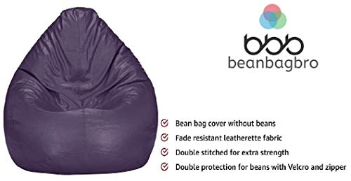 Bean Bag Bro (Not Made in China) USA Based Jumbo SAC Bean Bag Elegant Purple Indoor-Outdoor Best Bean Bag Chair for Kids-Only Cover/Without Fillers