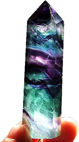 WensLTD Clearance! Natural Hexagonal Crystal Quartz Healing Fluorite Wand Stone Purple Green Gem