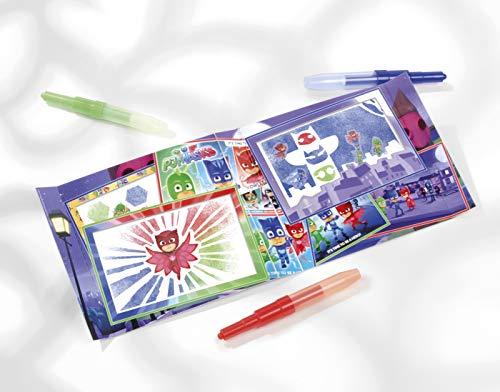 TM Essentials PJ Masks Sprühstiftkunstwerke Kreativ-Set: verschiedene Sprühstifte, Schablonen, 1 Malblock und Stickerbogen