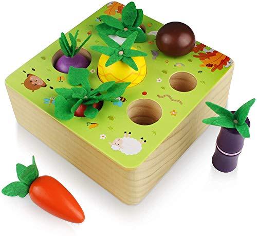 Jiahuade Holzspielzeug, Baby Motorik Spielzeug für Jungen und Mädchen, Happy Farm Montessori Spielzeug Sortierspiel Lernspielzeug für Kinder als Geschenk