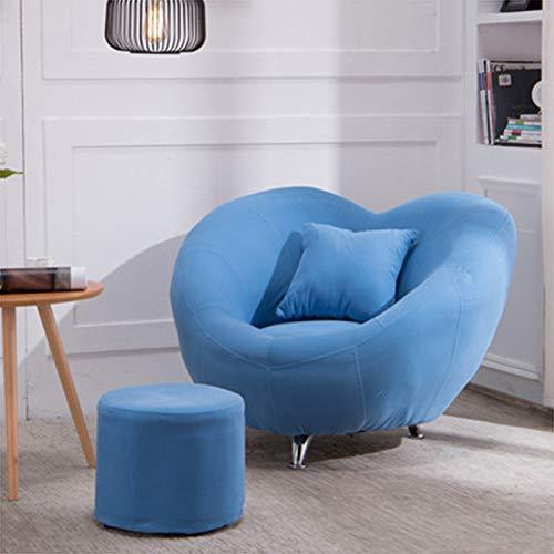 QSLS Moderno Simple Sofá De Tela Perezoso Sala De Estar Dormitorio Balcón Ocio Sillón,Swan Blue