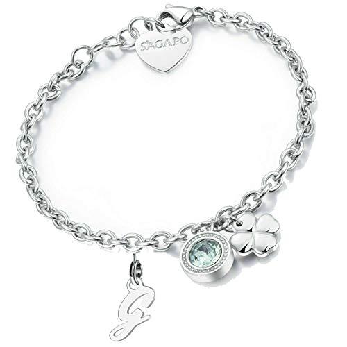 Bracciale porta fortuna donna acciaio lettera G quadrifoglio Sagapo braccialetto SKT12 SLT0G