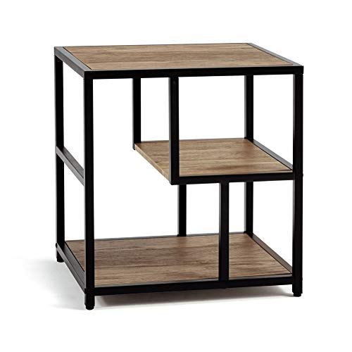 Linsy Home Industrial Side Table 3Tier End Table with Storage Shelf Wood Look with Metal Frame LS209J1A