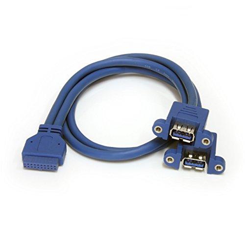 StarTech.com USB3SPNLAFHD - Cable Extensor de 2 Puertos USB 3.0 para Montaje...