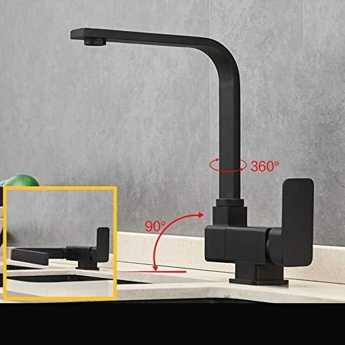 Küchenspüle aus schwarzem Kupfer für warmes und kaltes Wasser im Fenster, faltbar, kreatives Waschtischarmatur, drehbar für Innenbereich, Fenster, Küche, Fenster, Wasserhähne